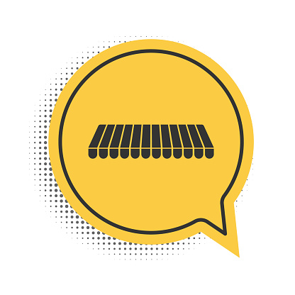 Black Striped awning icon isolated on white background. Outdoor sunshade sign. Awning canopy for shops, cafes and street restaurants. Yellow speech bubble symbol. Vector