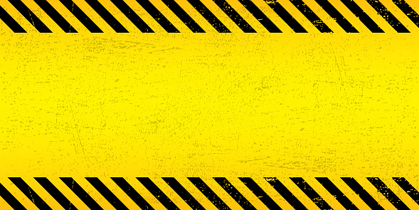 Black Stripped Rectangle on yellow background. Blank Warning Sign. Warning Background. Template. Vector illustration EPS10.