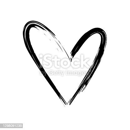 istock Black stroke heart icon in hand drawn style. Grunge heart shape isolated on white background. 1298091235