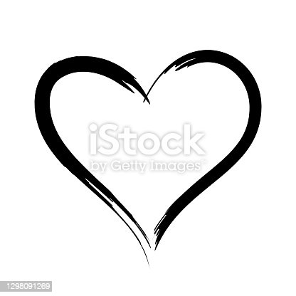 istock Black stroke heart icon in hand drawn style. Grunge heart shape isolated on white background. 1298091269