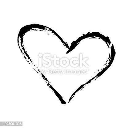 istock Black stroke heart icon in hand drawn style. Grunge heart shape isolated on white background. 1298091328