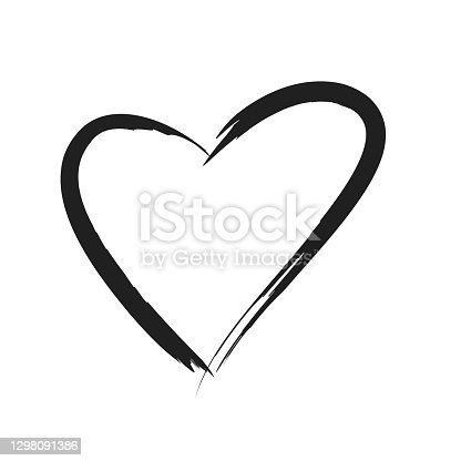 istock Black stroke heart icon in hand drawn style. Grunge heart shape isolated on white background. 1298091386
