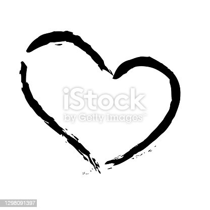 istock Black stroke heart icon in hand drawn style. Grunge heart shape isolated on white background. 1298091397