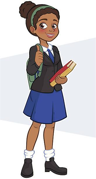 Royalty Free School Uniform Teenager Girl Clip Art, Vector ...