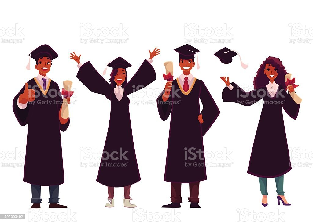 Black Students In Traditional Caps And Gowns Celebrating Successful ...