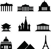 Black style Icon Set Landmarks