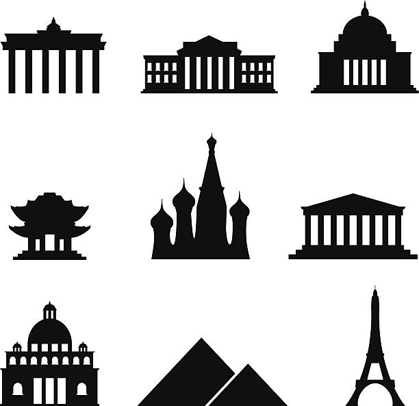 черный стиль набор иконок достопримечательности - white house stock illustrations