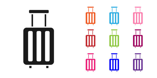 Black Suitcase for travel icon isolated on white background. Traveling baggage sign. Travel luggage icon. Set icons colorful. Vector Illustration Black Suitcase for travel icon isolated on white background. Traveling baggage sign. Travel luggage icon. Set icons colorful. Vector Illustration airport clipart stock illustrations