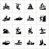 Outdoor summer adventure icons. All white strokes/shapes are cut from the icons allowing the background to show through.