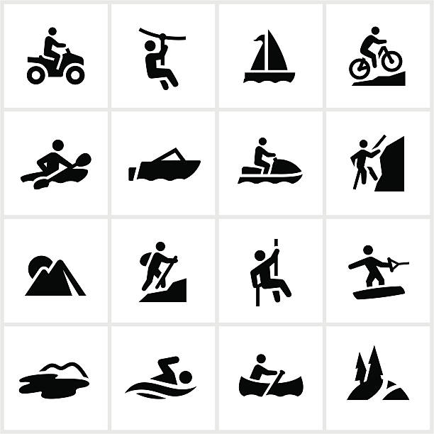 Black Summer Adventure Icons Outdoor summer adventure icons. All white strokes/shapes are cut from the icons allowing the background to show through. hobbies stock illustrations