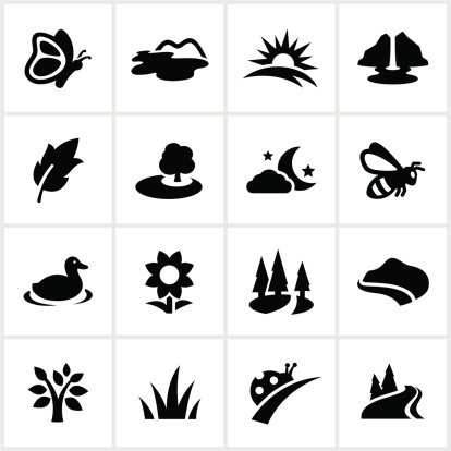 Summer related icons. All white strokes/shapes are cut from the icons and merged allowing the background to show through.