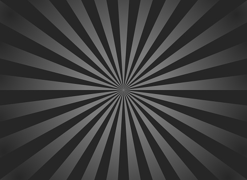 Black sunburst background. Retro background with starburst and ray. Black-gray beam after burst. Abstract vintage texture with white rays of sun. Pattern of pinwheel and stripes. Solar glow. Vector.