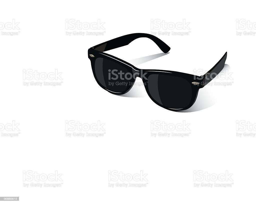Black sunglasses on a white background vector art illustration