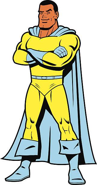 Black Superhero vector art illustration