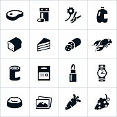 Icons representing common supermarket departments. Departments include meat, dairy, bakery, food, pharmacy, seafood, pet and produce.