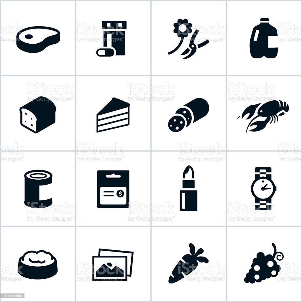 Black Supermarket Departments Icons vector art illustration