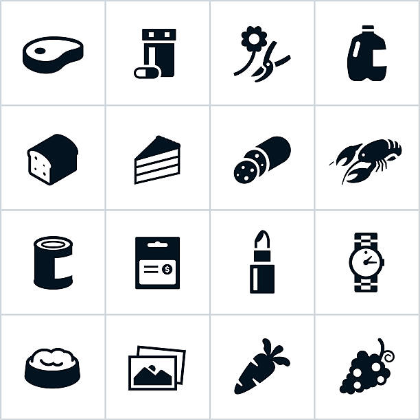 black supermarket departments icons - delis stock illustrations