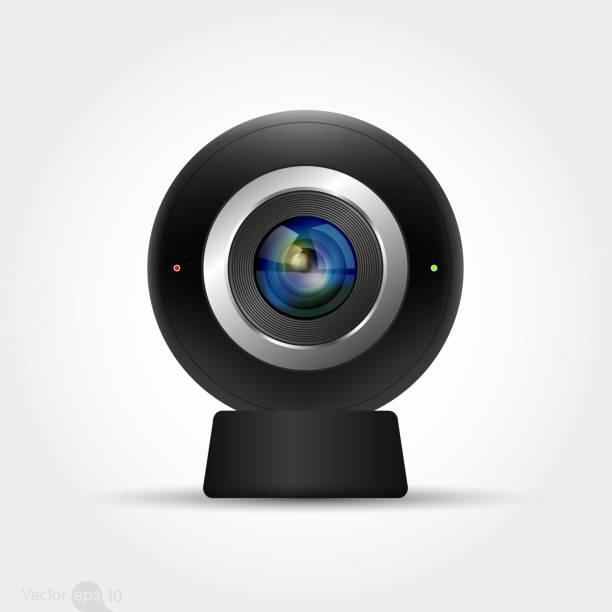 Black surveillance camera design. vector vector art illustration
