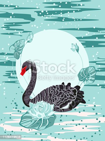 Black Swan and lotus flowers against the sunrise, Chinese and Japanese lacquer miniatures. Vector illustration