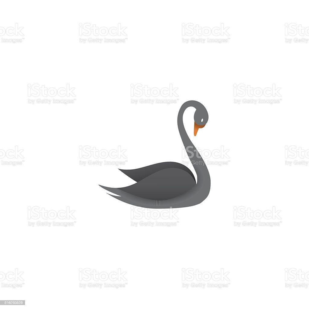 Black swan logo vector art illustration
