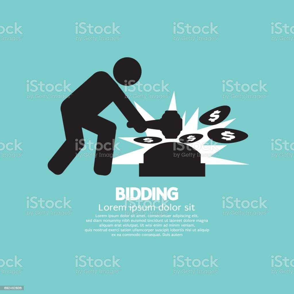 Black Symbol Bidding Auction Sign Vector Illustration vector art illustration