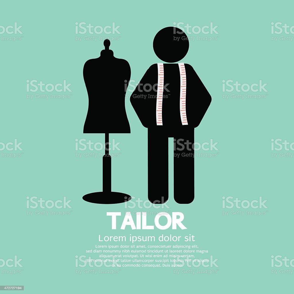 Black Symbol Tailor With Mannequin vector art illustration