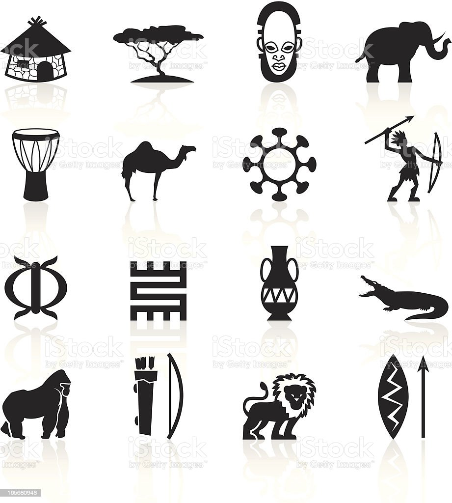 Black Symbols - Africa vector art illustration