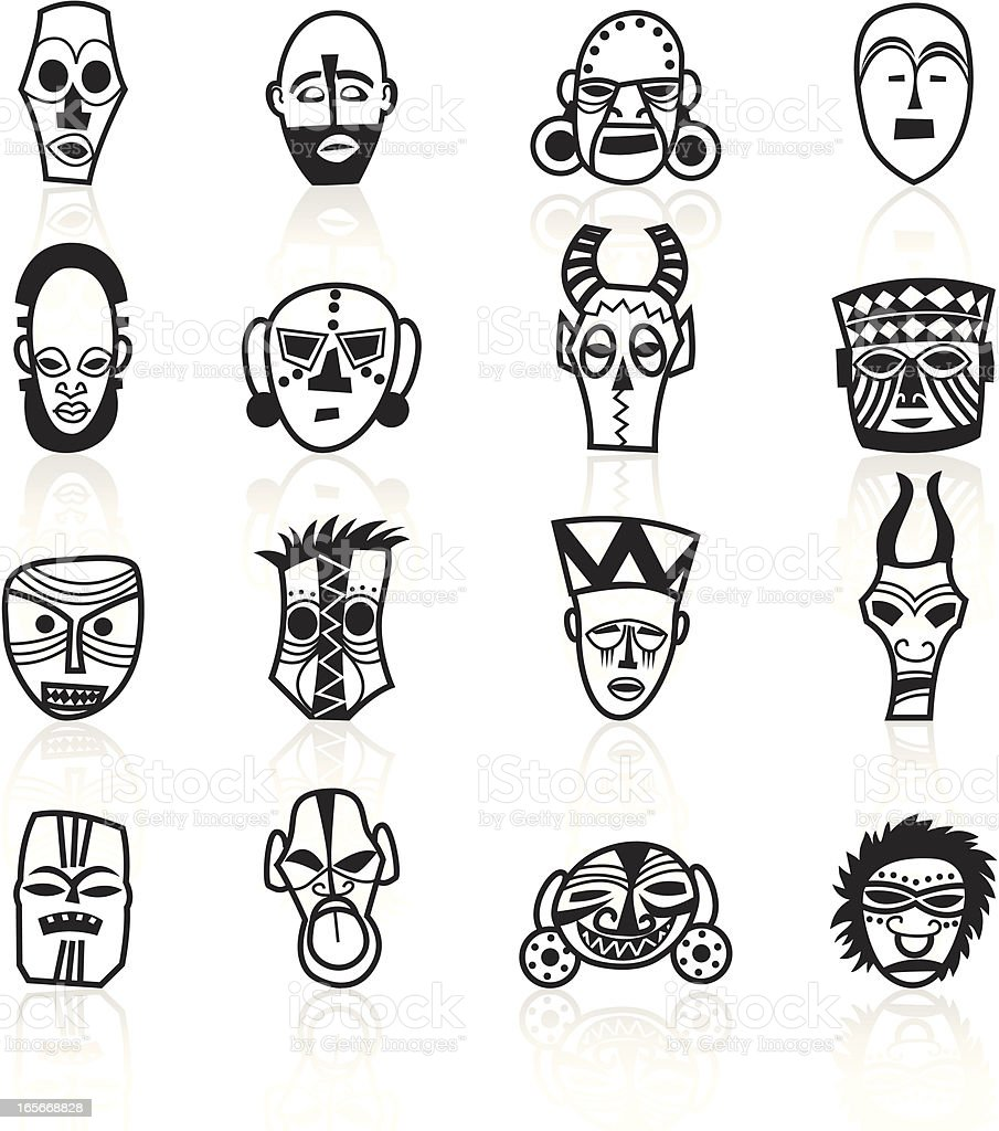 Black Symbols - African Masks vector art illustration