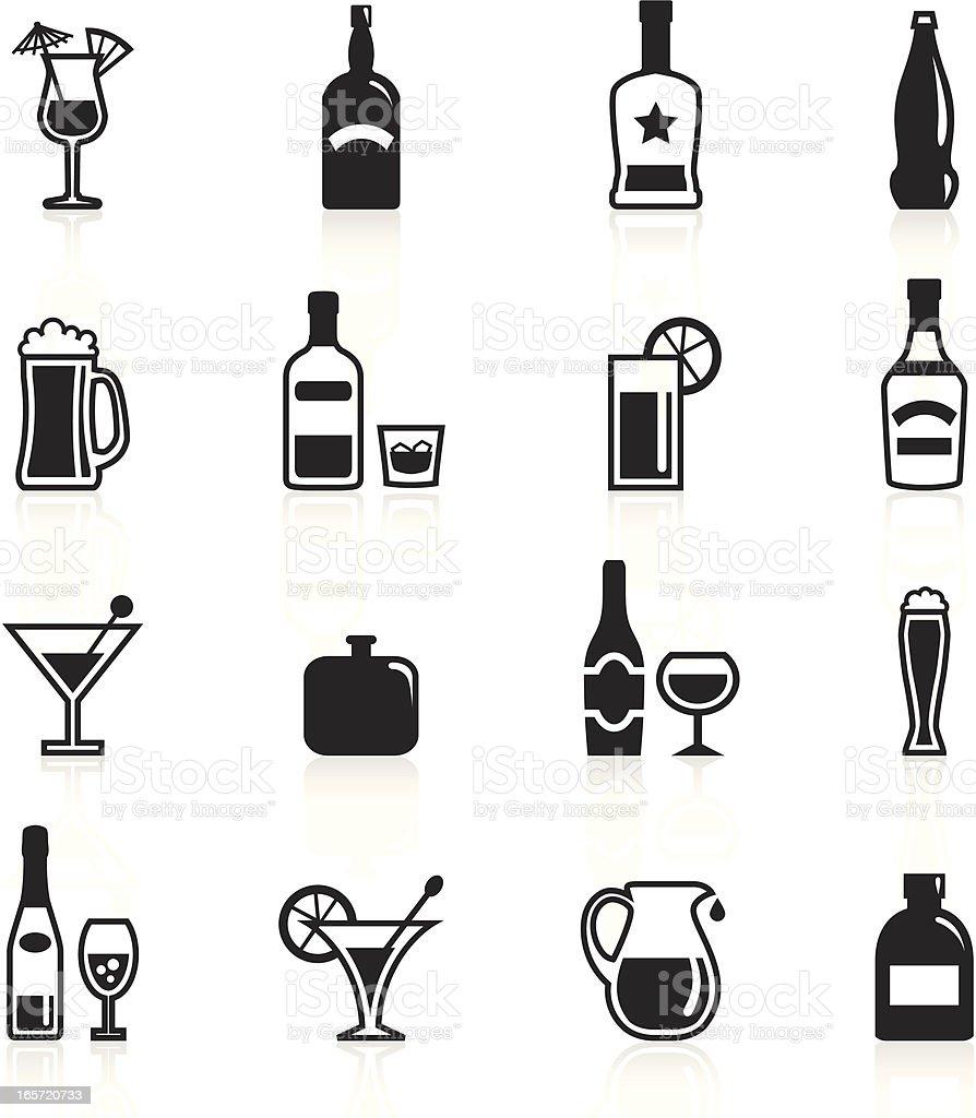 Black Symbols - Alcohol vector art illustration