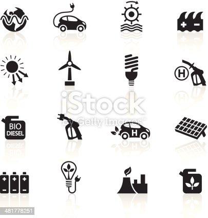 Illustration of different alternative energy symbols.