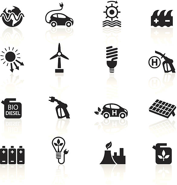 stockillustraties, clipart, cartoons en iconen met black symbols - alternative energy - waterstof