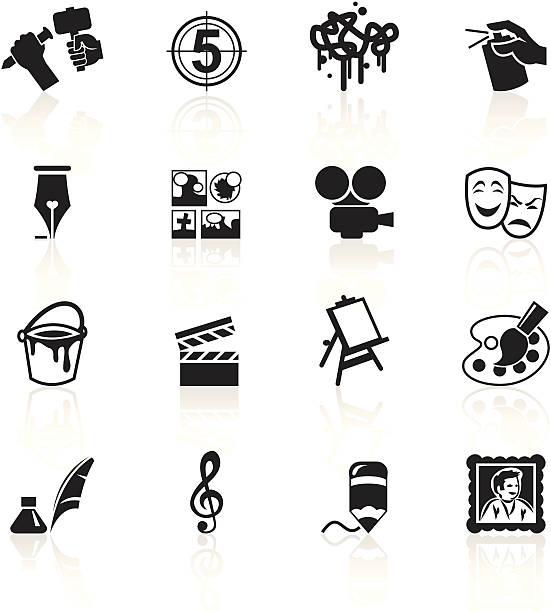 illustrations, cliparts, dessins animés et icônes de noir symboles-arts - camera sculpture