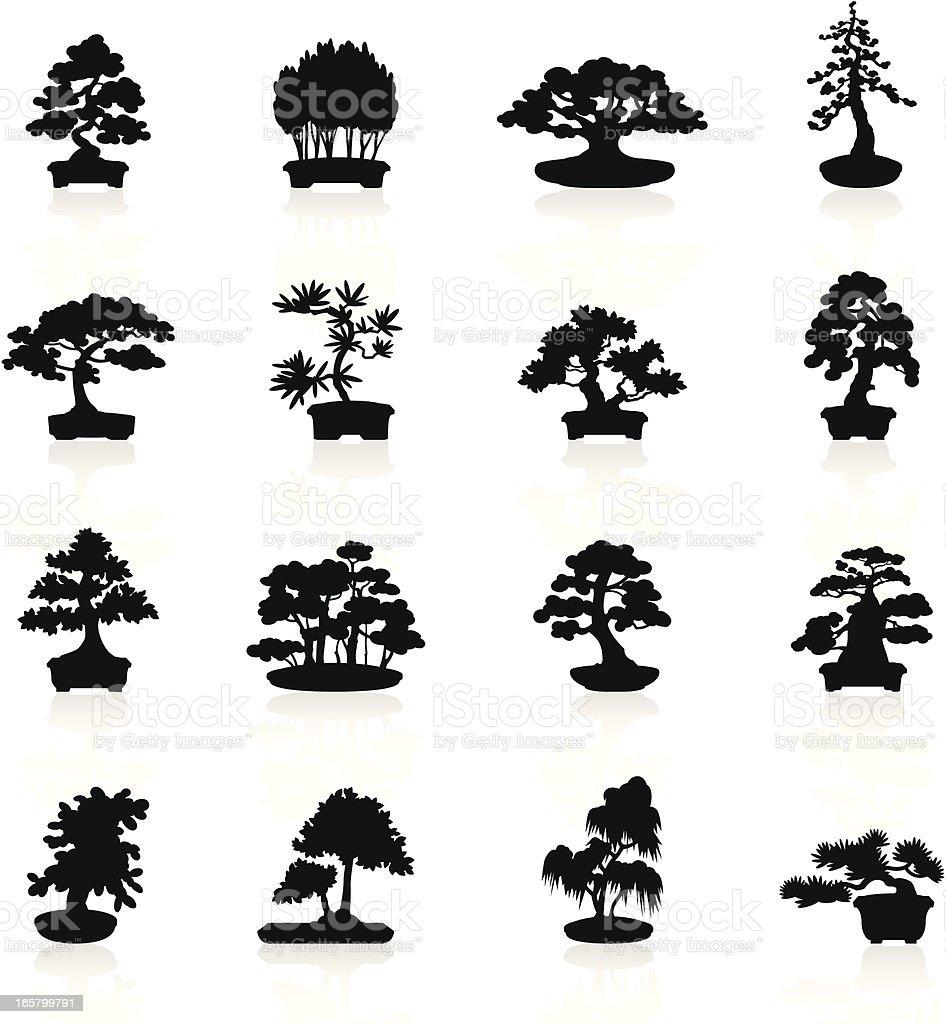 Black Symbols - Bonsai Trees vector art illustration