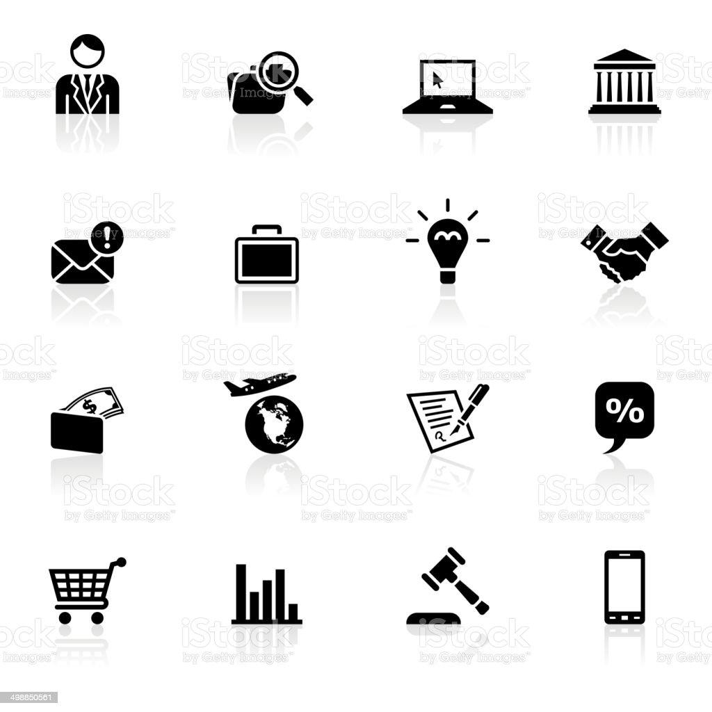 Símbolos de negócios preto - ilustração de arte em vetor