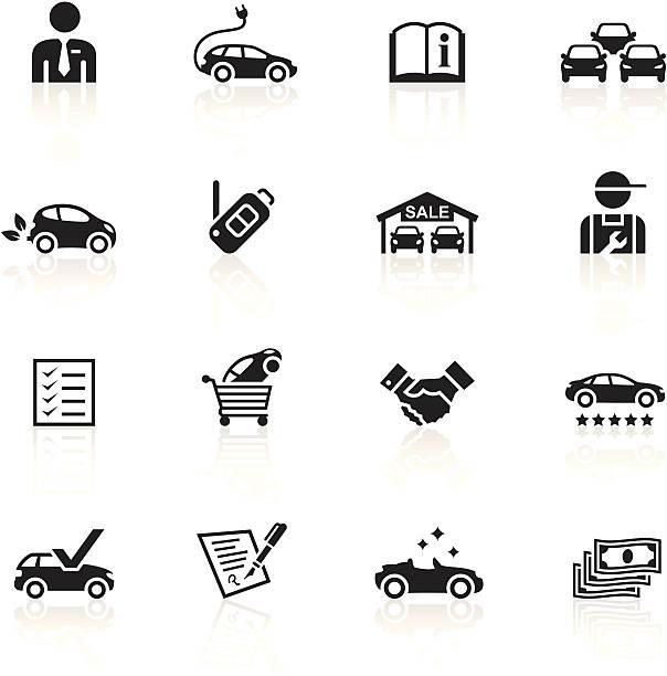 Schwarze Symbole-Autohaus – Vektorgrafik