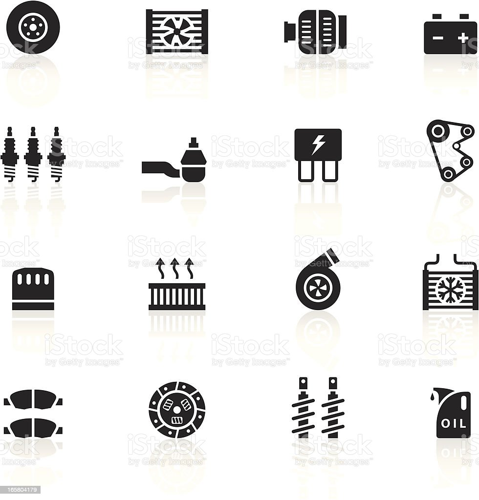 Black Symbols - Car Maintenance vector art illustration