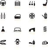16 black symbols representing different car parts.