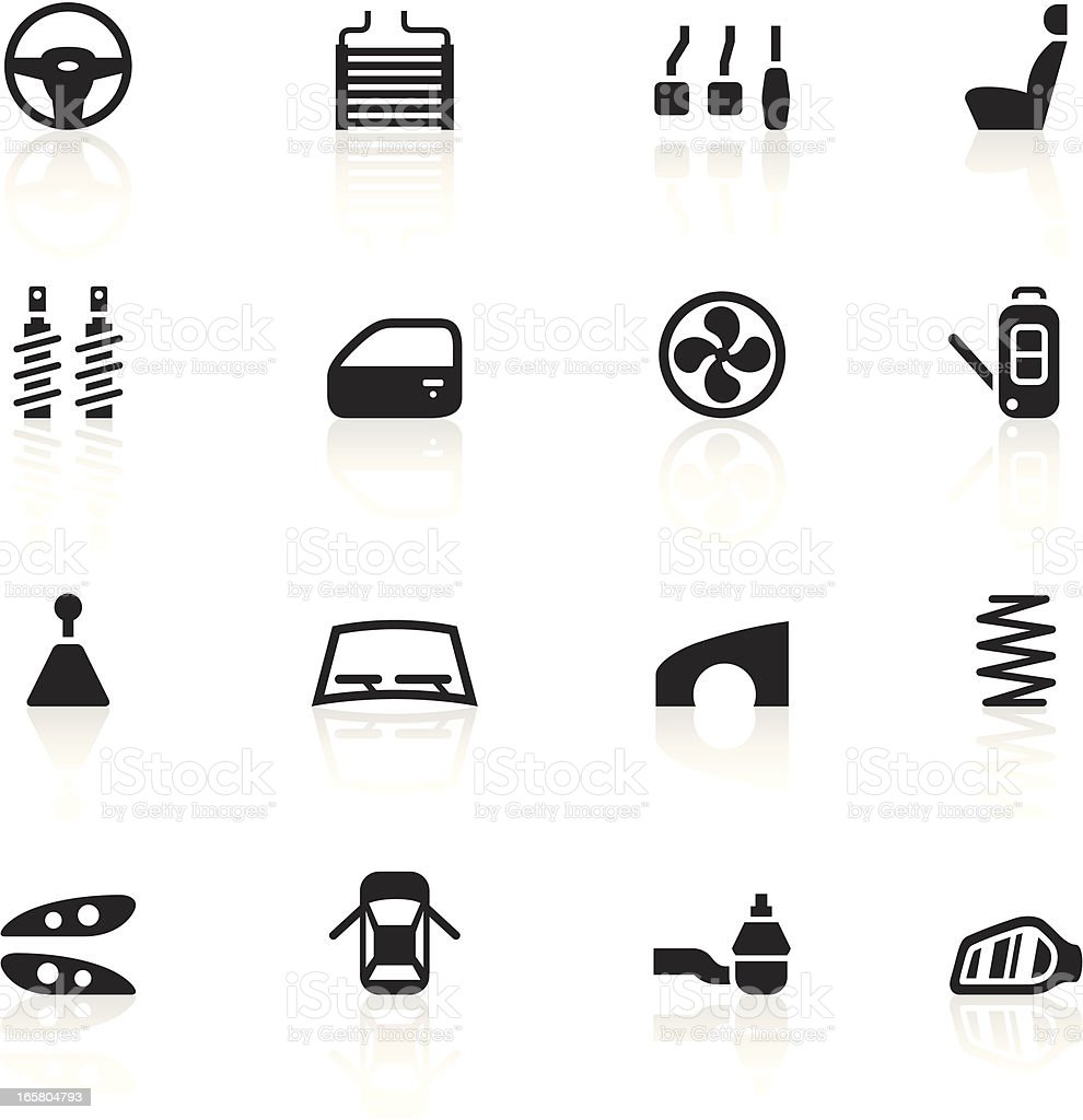 Black Symbols - Car Parts vector art illustration