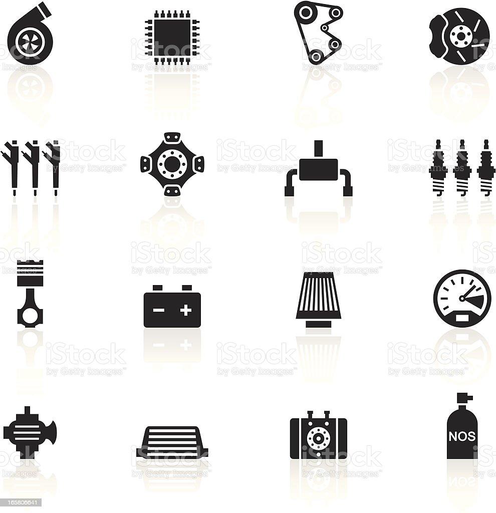 Black Symbols - Car Performance Parts royalty-free stock vector art