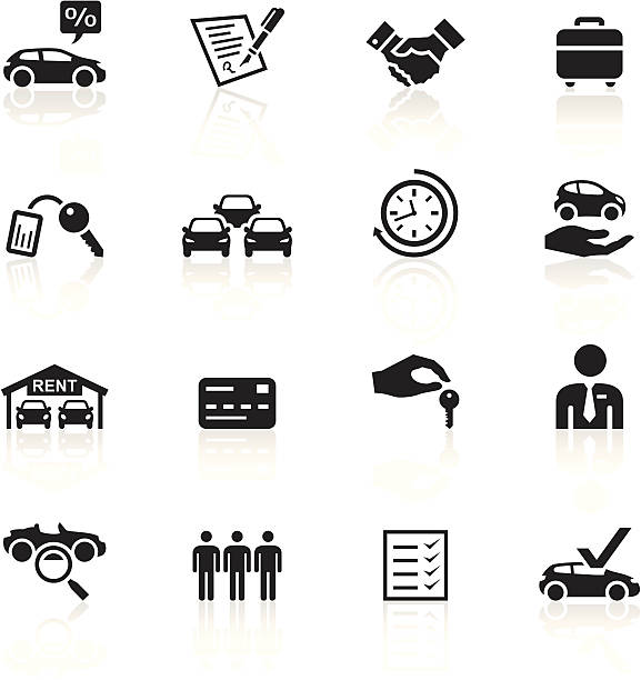 Black Symbols - Car Rental Illustration representing different car rental related icons. automobile industry stock illustrations