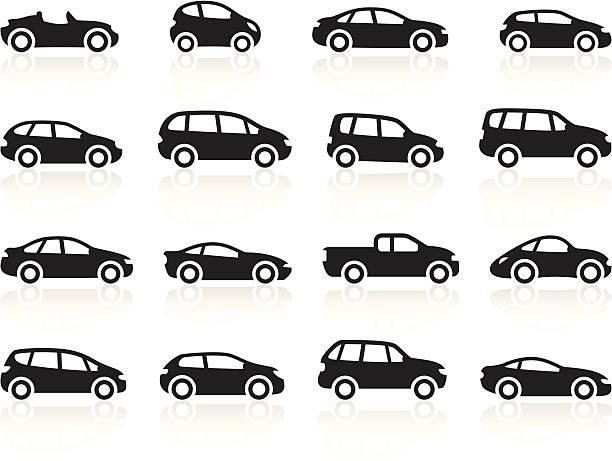Black Symbols - Cartoon Cars Illustration representing different cartoon cars, including: sports car, hatchback, mini, limousine, SUV, pick up truck, hybrid. hatchback stock illustrations