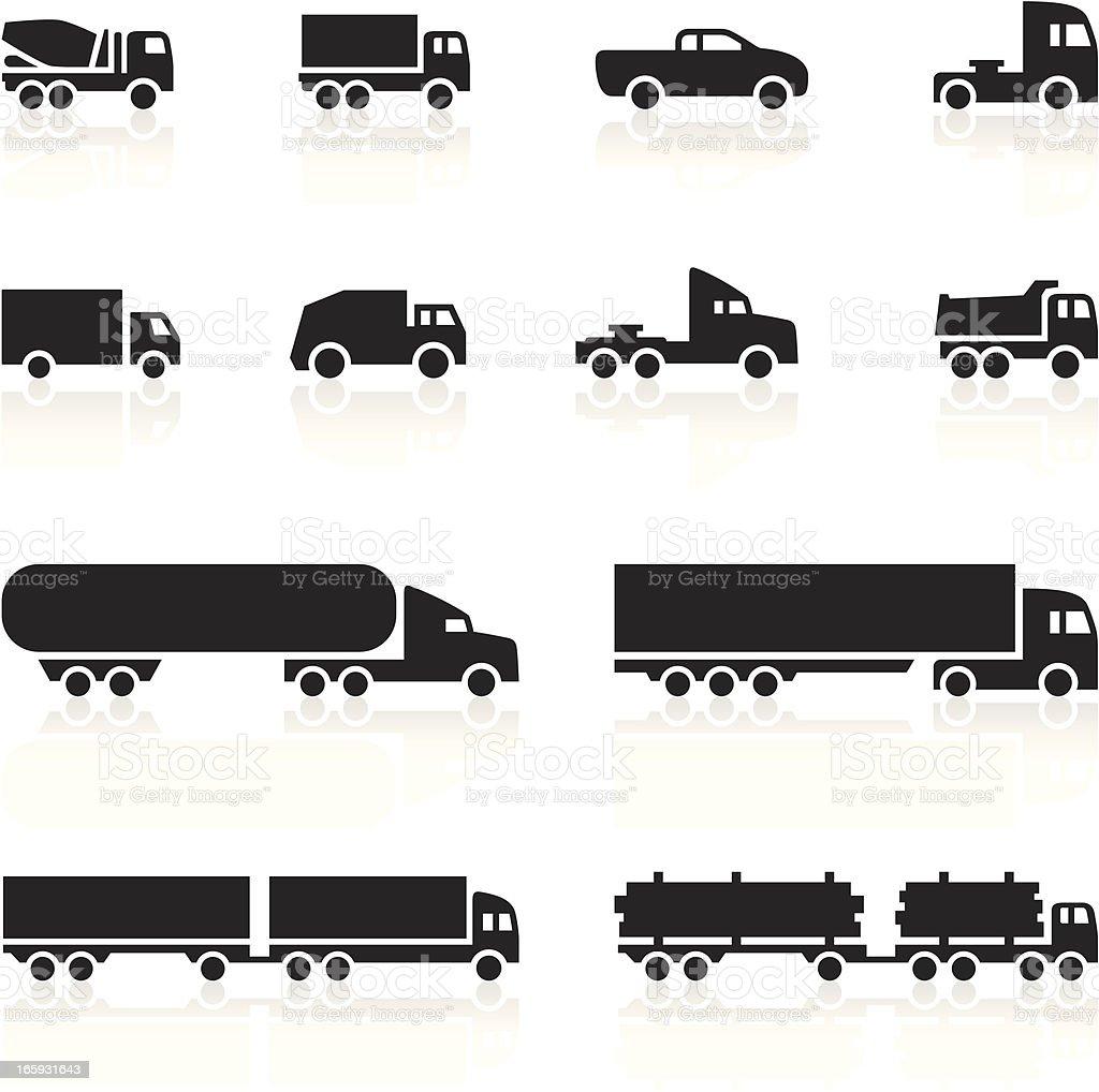 Black Symbols - Cartoon Trucks vector art illustration