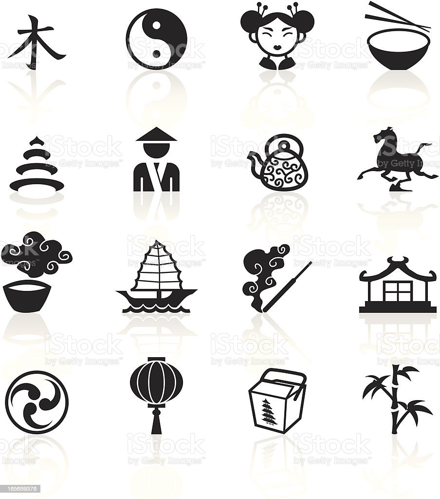Black Symbols China Stock Vector Art More Images Of Adult