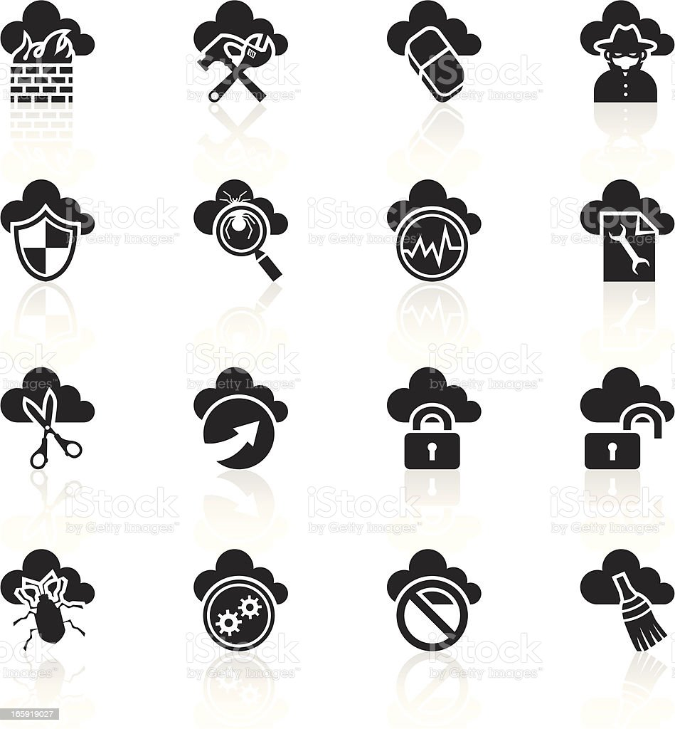 Black Symbols - Cloud Computing Security royalty-free stock vector art