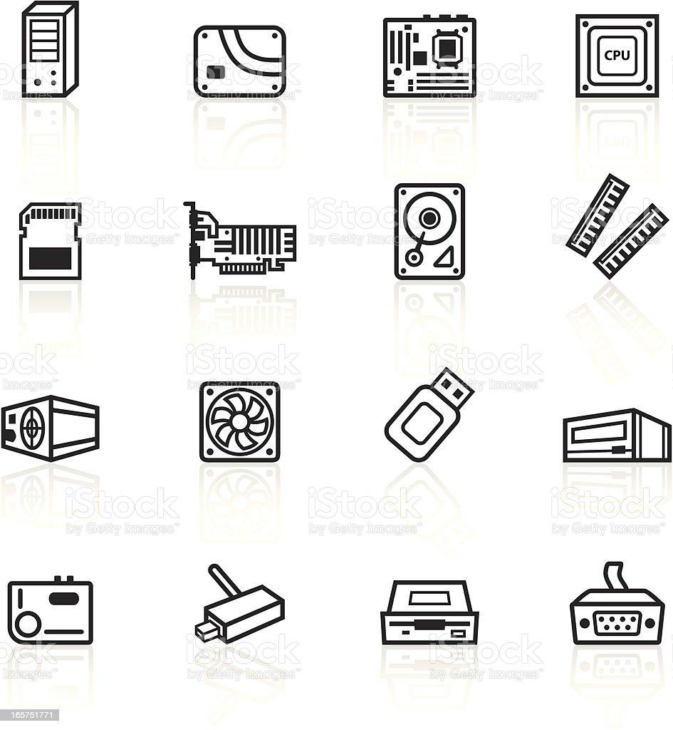 Schwarze Symbolecomputerkomponenten Stock Vektor Art und mehr Bilder ...