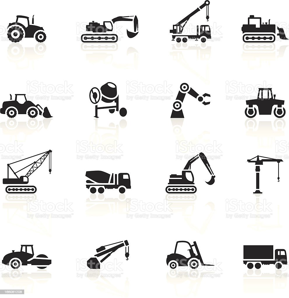 Black Symbols - Construction Machines royalty-free black symbols construction machines stock vector art & more images of agricultural machinery