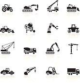 Illustration representing different construction machines.