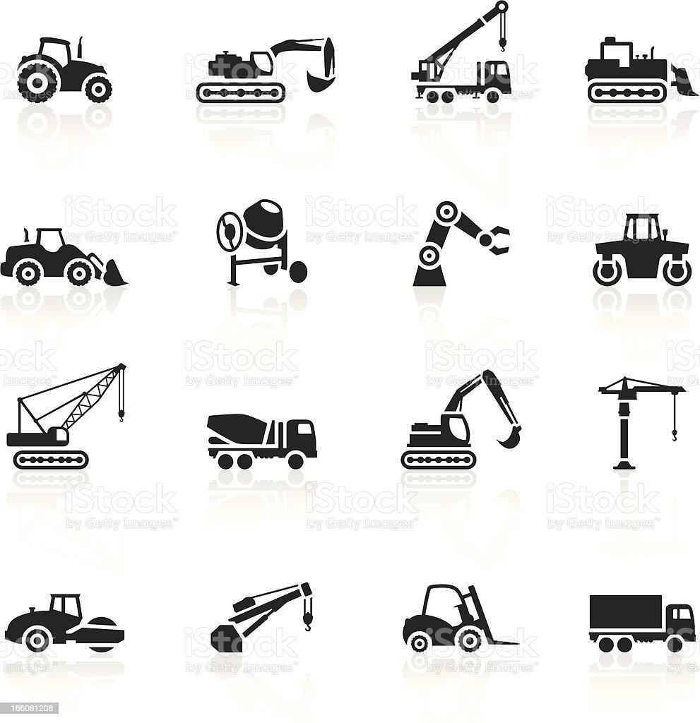 Черные символы-Строительные машины векторная иллюстрация