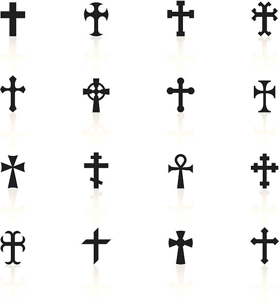 블랙 기호들-크로스관 - 십자가 stock illustrations