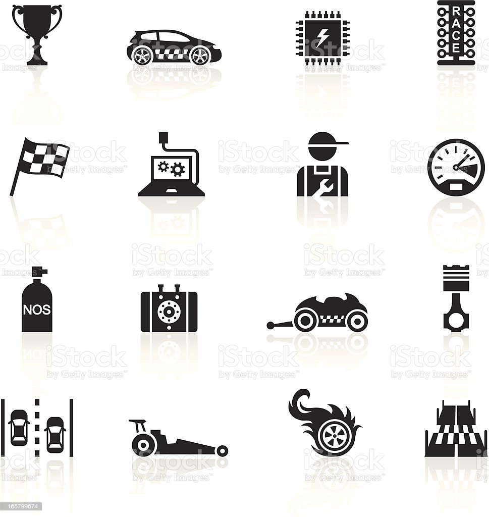Black Symbols - Drag Racing vector art illustration